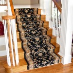 BLACK WOOL STAIR RUNNER INSTALLED ON LIGHT HARDWOOD FLOORING LEAWOOD