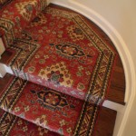 CUSTOM HAND KNOTTED ORIENTAL STAIR RUNNER INSTALLED ON LANDING LENEXA KANSAS