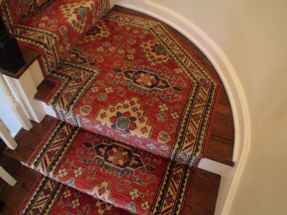 Custom Hand Knotted Oriental Stair Runner Installed On