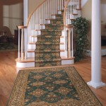 GREEN ORIENTAL STAIR RUNNER WITH EXTRA ORIENTAL ENTRY RUG