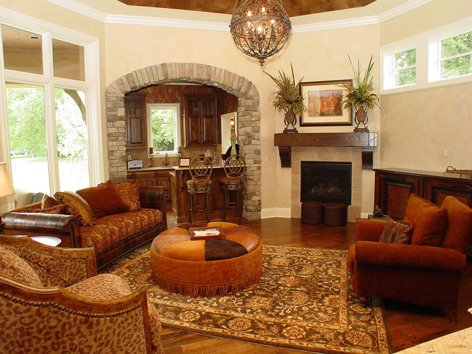 Hearth room oriental rug front legs of furniture on it for Hearth room furniture layout ideas