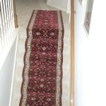 RED ORIENTAL STAIR RUNNER INSTALLED OVERLAND PARK KANSAS