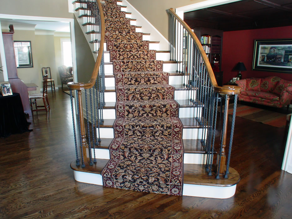 Curved Stairs With Rr Wrapped Install Method Area Rug