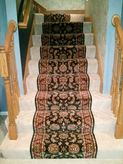 Awesome STAIR RUNNER INSTALLED OVER CARPET KANSAS CITY