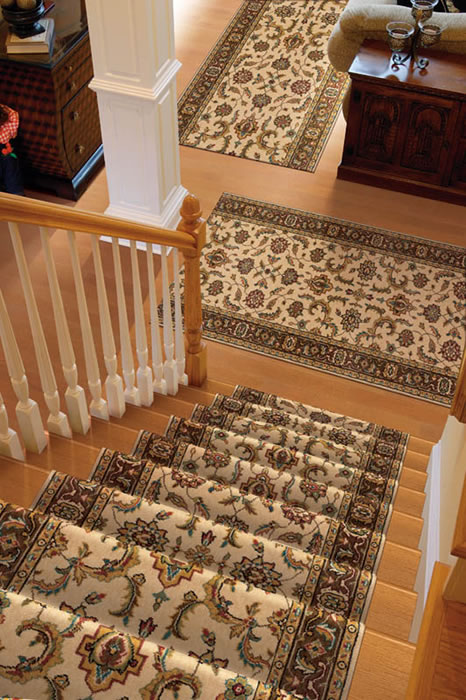 Wool Orienatl Stair Runner Installed With Matching Runners