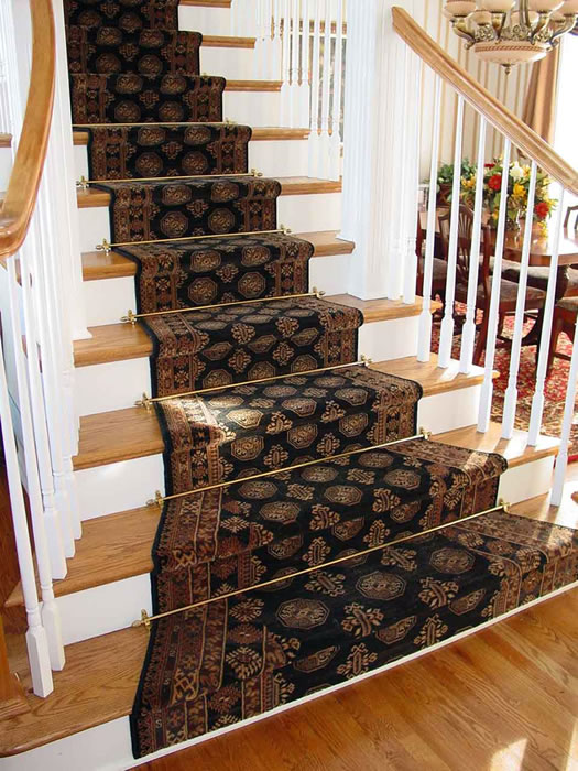 Wool Stair Runner Installed With Rods Mission Kansas Area Rug